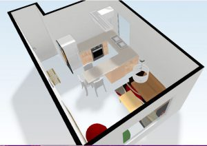 A floorplan of the kitchen and living that I designed with the group